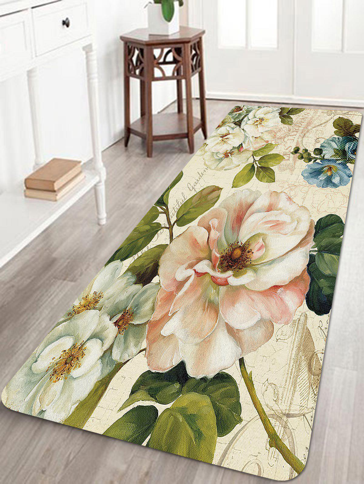 Retro Flowers Pattern Anti-skid Floor Area Rug sand shell starfish pattern floor area rug