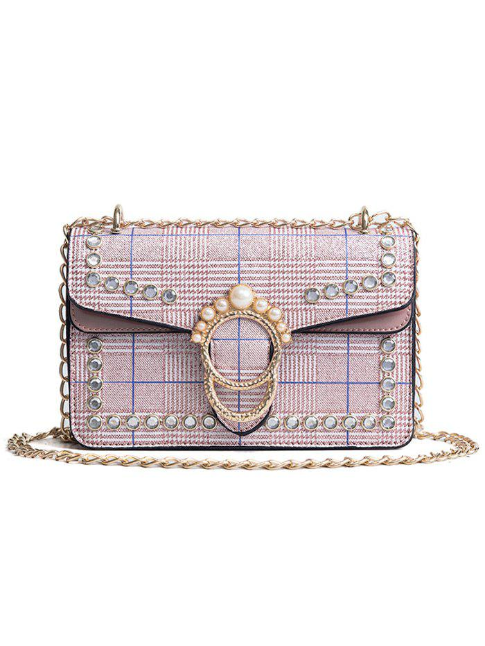 Plaid Chain Shoulder Bag with Pearl Embellishment - LIGHT PINK