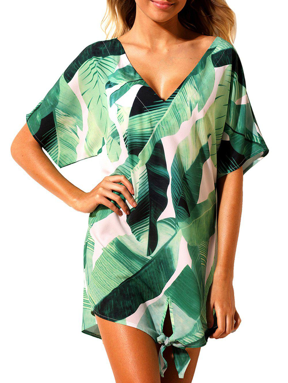 Knot Banana Leaf Print Cover Up Dress guitar print knot side dress