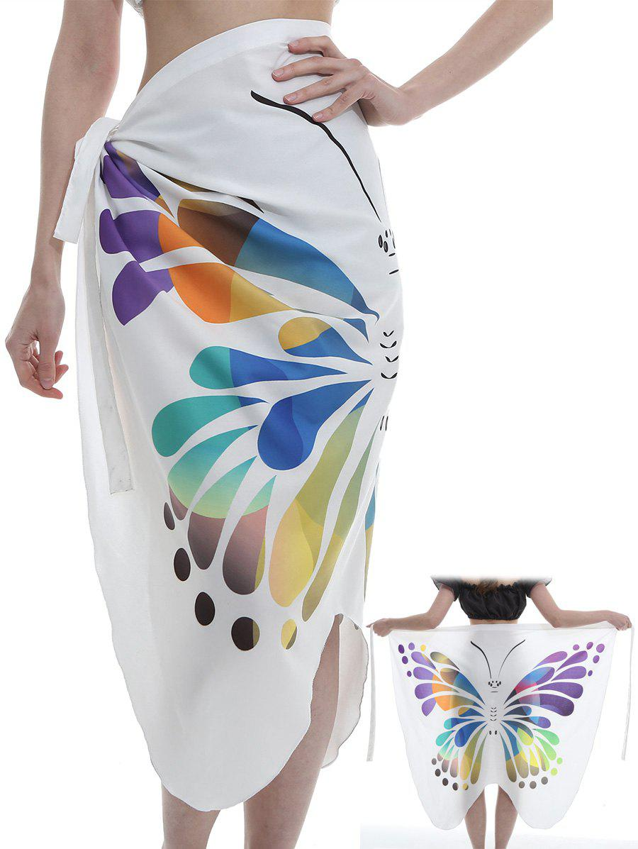 Unique Butterfly Pattern Shawl Scarf - WHITE