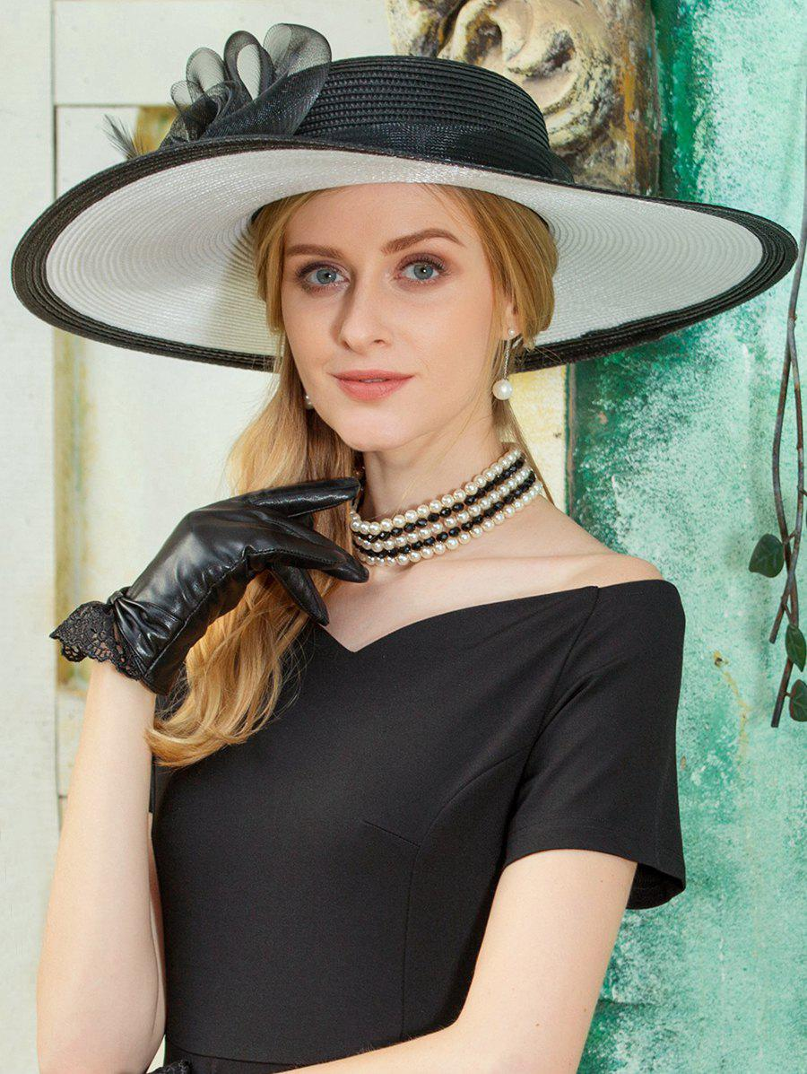 Ribbon Floral Pattern Straw Sun Hat - BLACK