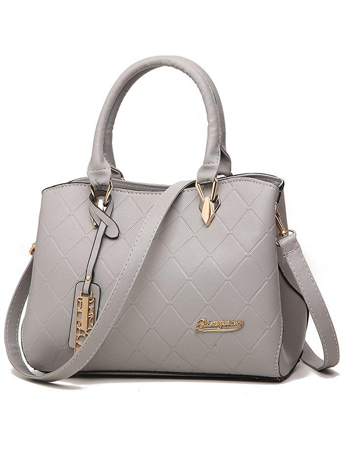 Faux Leather Quilted Handbag with Shoulder Strap - GRAY