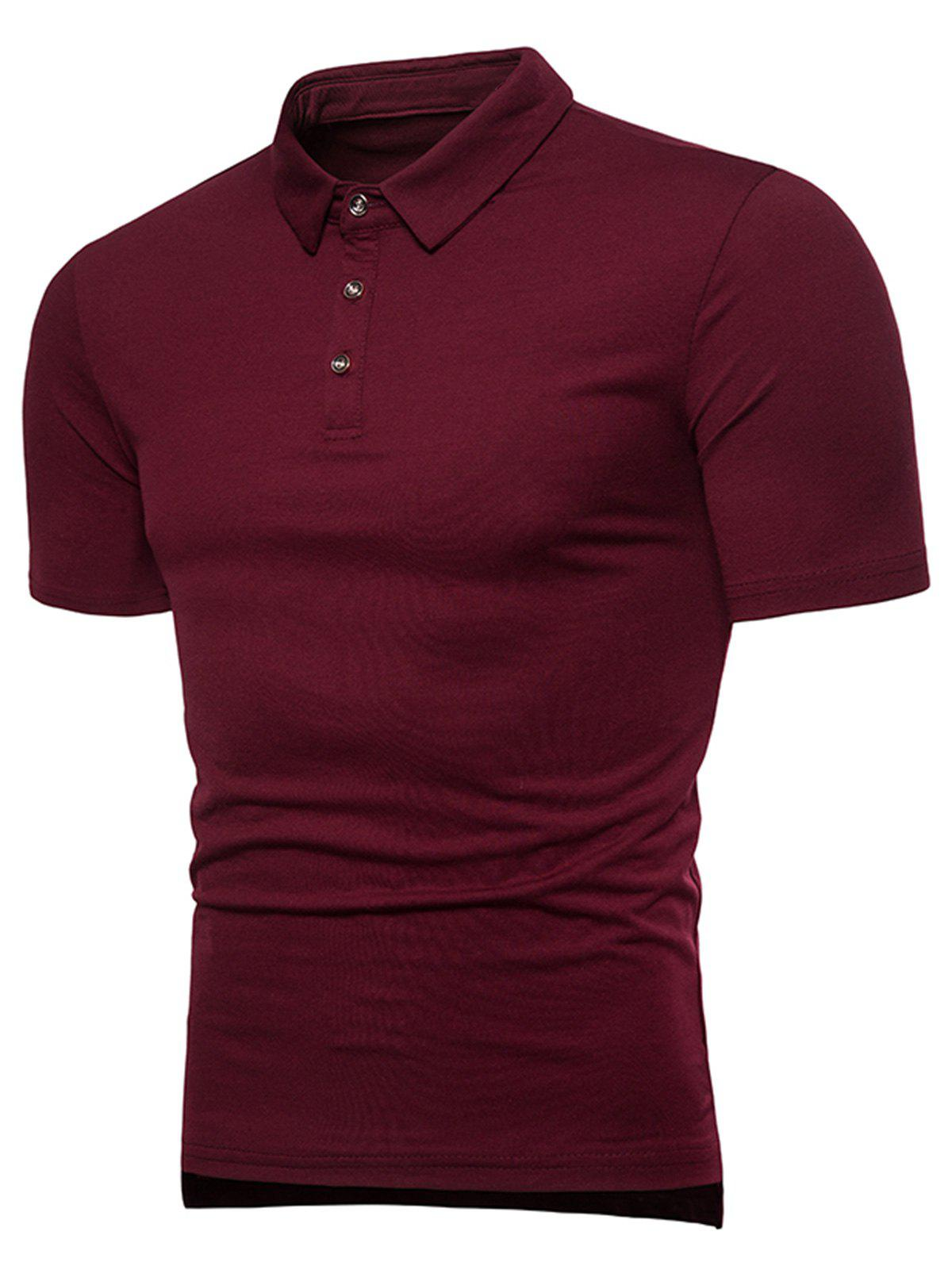 Rib Panel Polo Shirt - RED 3XL