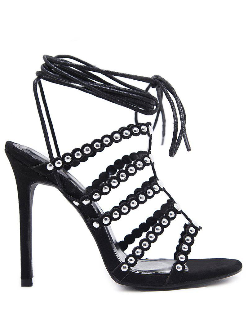Lace Front Studs Gladiator Sandals - BLACK 35