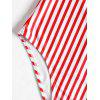 One Piece High Cut Stripe Swimwear - RED/WHITE L