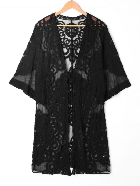 Embroidered Lace Kimono Cardigan Cover Up - BLACK ONE SIZE