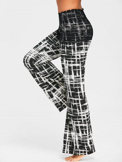 Plaid Palazzo Pants with Lace Overlay Skirt - BLACK M