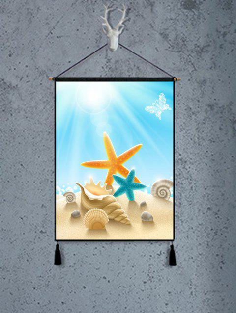 Starfish Shell Pattern with Tassel Wall Hanging Artwork - BABY BLUE 1PC:18*26 INCH(NO FRAME)