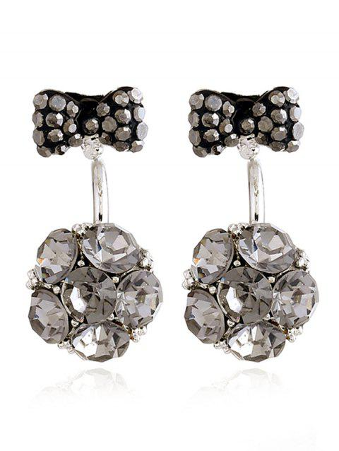 Rhinestone Bowknot Flower Ear Jackets - GRAY