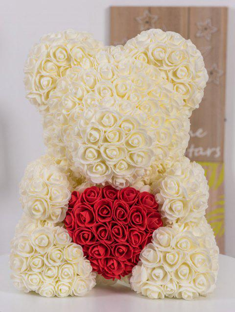 Gift Love Heart Shaped Artificial Rose Flowers Bear - ANTIQUE WHITE 40*20*30CM