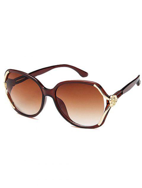 Anti UV Carved Flower Decorated Sunglasses - COFFEE