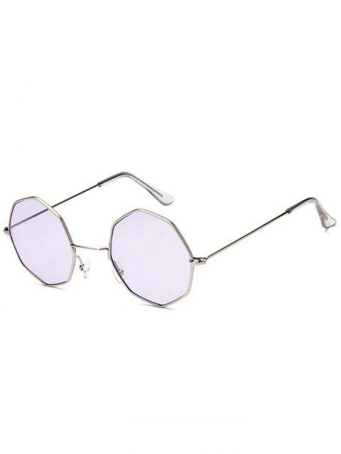 Geometric Metal Frame Sunglasses - LAVENDER BLUE