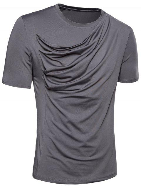Pleated Design Stretchy T-shirt - GRAY M