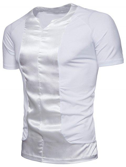 Crew Neck Satin Panel T-shirt - WHITE XL