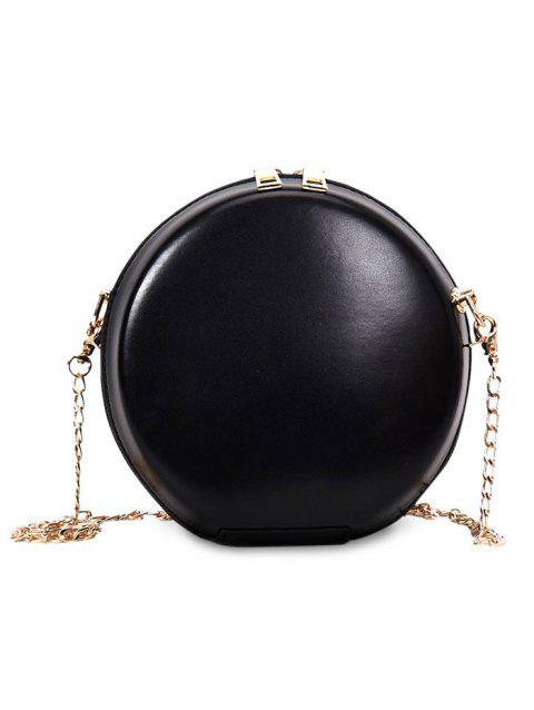 Round Shape Hard Case Chain Crossbody Bag - BLACK