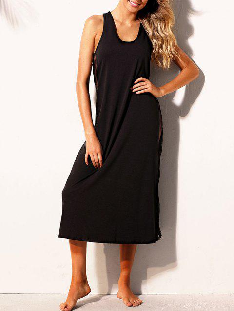 Mesh Insert Cross Back Tank Dress - BLACK S