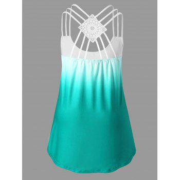Strappy Panel Plus Size Print Tank Top - MINT 3XL