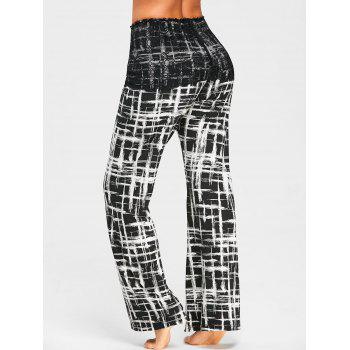 Plaid Palazzo Pants with Lace Overlay Skirt - BLACK L