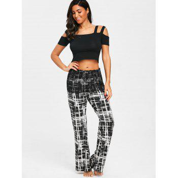 Plaid Palazzo Pants with Lace Overlay Skirt - BLACK XL