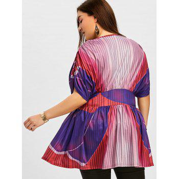 Plus Size Batwing Sleeve Plunging Neck Blouse - COLORMIX 5XL