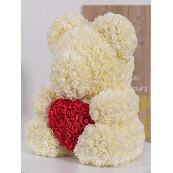 Gift Love Heart Shaped Artificial Rose Flowers Bear - ANTIQUE WHITE 34*28*25CM