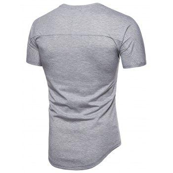 Longer in the Rear Satin Panel T-shirt - GRAY CLOUD XL