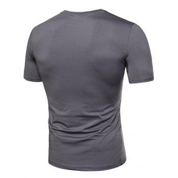 Pleated Design Stretchy T-shirt - GRAY L