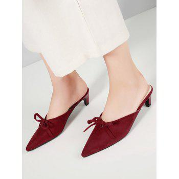 Bowknot Kitten Heel Slide Pumps - CRANBERRY 41
