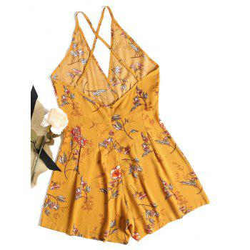 Criss Cross Open Back Floral Romper - BEE YELLOW M