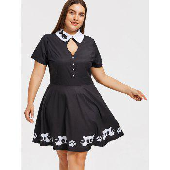 Plus Size Two Tone Fish Print Dress - BLACK 3XL