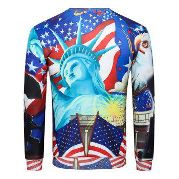 American Flag Statue of Liberty Print Pullover Sweatshirt - multicolor XS