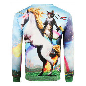 3D Soaring Horse Pattern Pullover Sweatshirt - multicolor XS