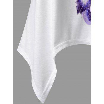 Feather Print Lace Panel Asymmetric Tank Top - PURPLE M