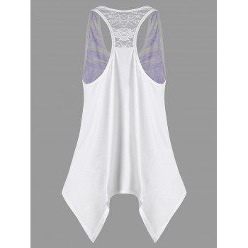 Feather Print Lace Panel Asymmetric Tank Top - PURPLE L
