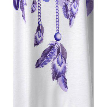 Feather Print Lace Panel Asymmetric Tank Top - PURPLE 2XL