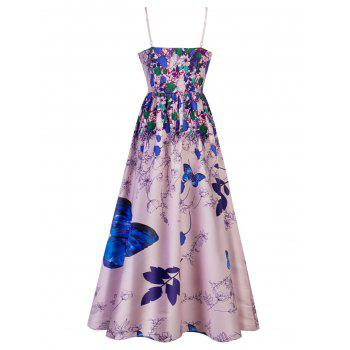Spaghetti Strap Printed Long Party Dress - BLUE ORCHID L