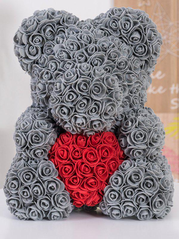 Gift Love Heart Shaped Artificial Rose Flowers Bear - SMOKEY GRAY 34*28*25CM