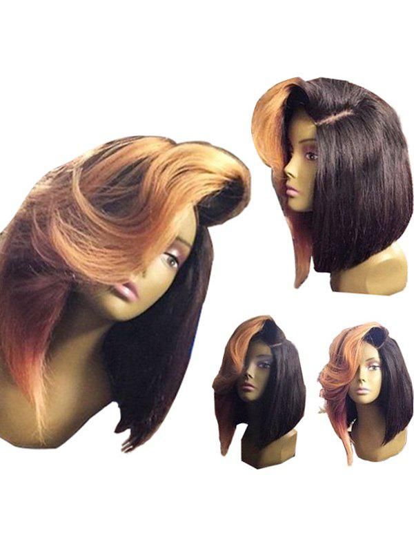 Medium Deep Side Parting Colormix Straight Bob Synthetic Wig - COLORMIX