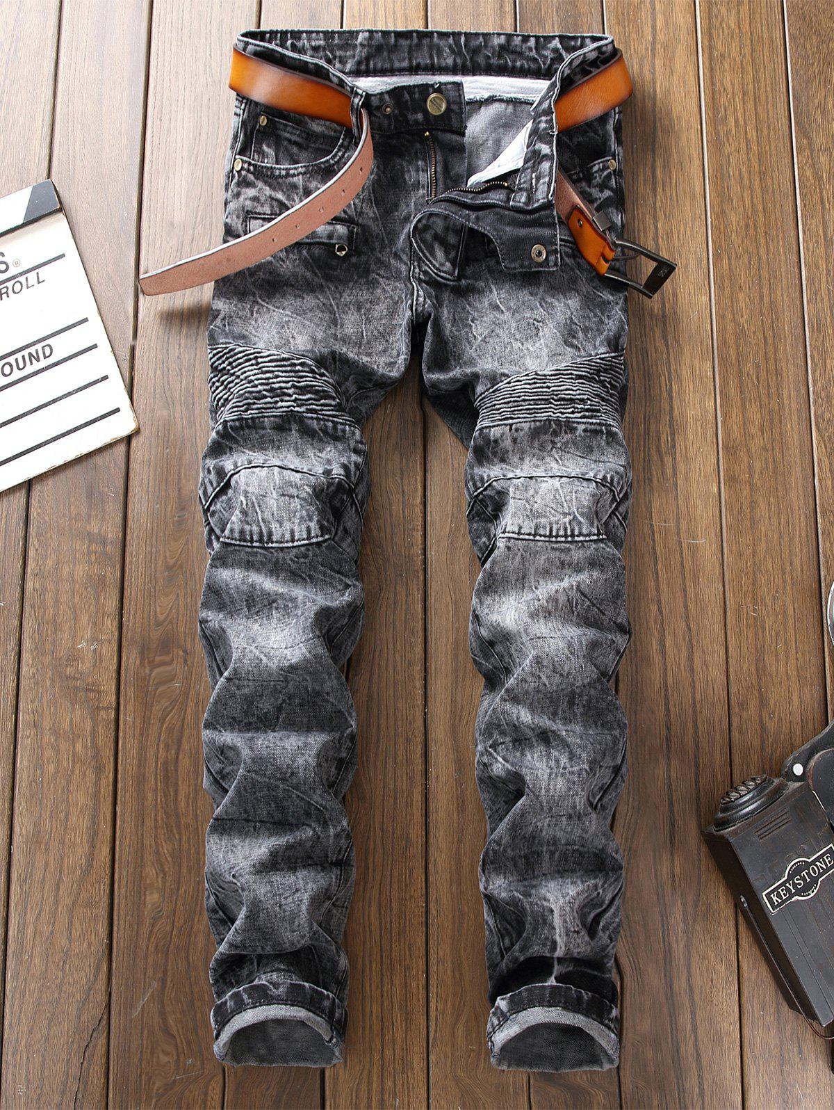 Bleach Wash Straight Leg Biker Jeans - GRAY 32