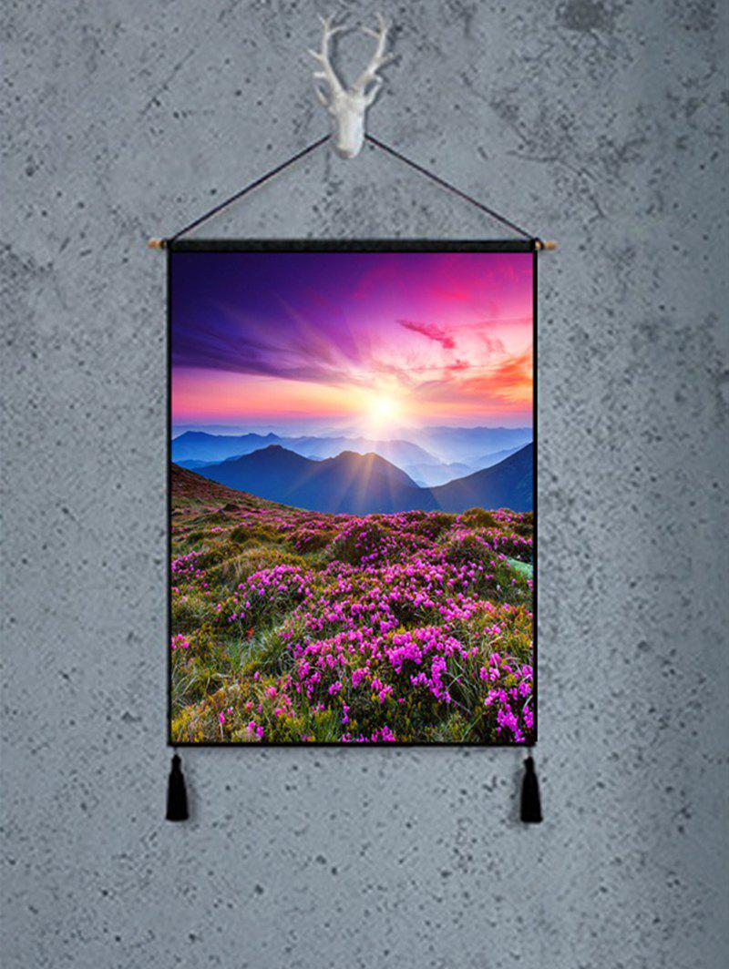 Mountain Lavender Sunlight Print Tassel Hanging Painting - DEEP PINK 1PC:18*26 INCH(NO FRAME)