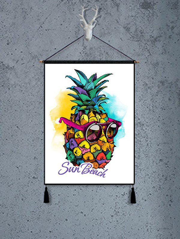 Wearing Sunglasses Pineapple Print Tassel Hanging Painting Decoration - multicolor 1PC:18*26 INCH(NO FRAME)