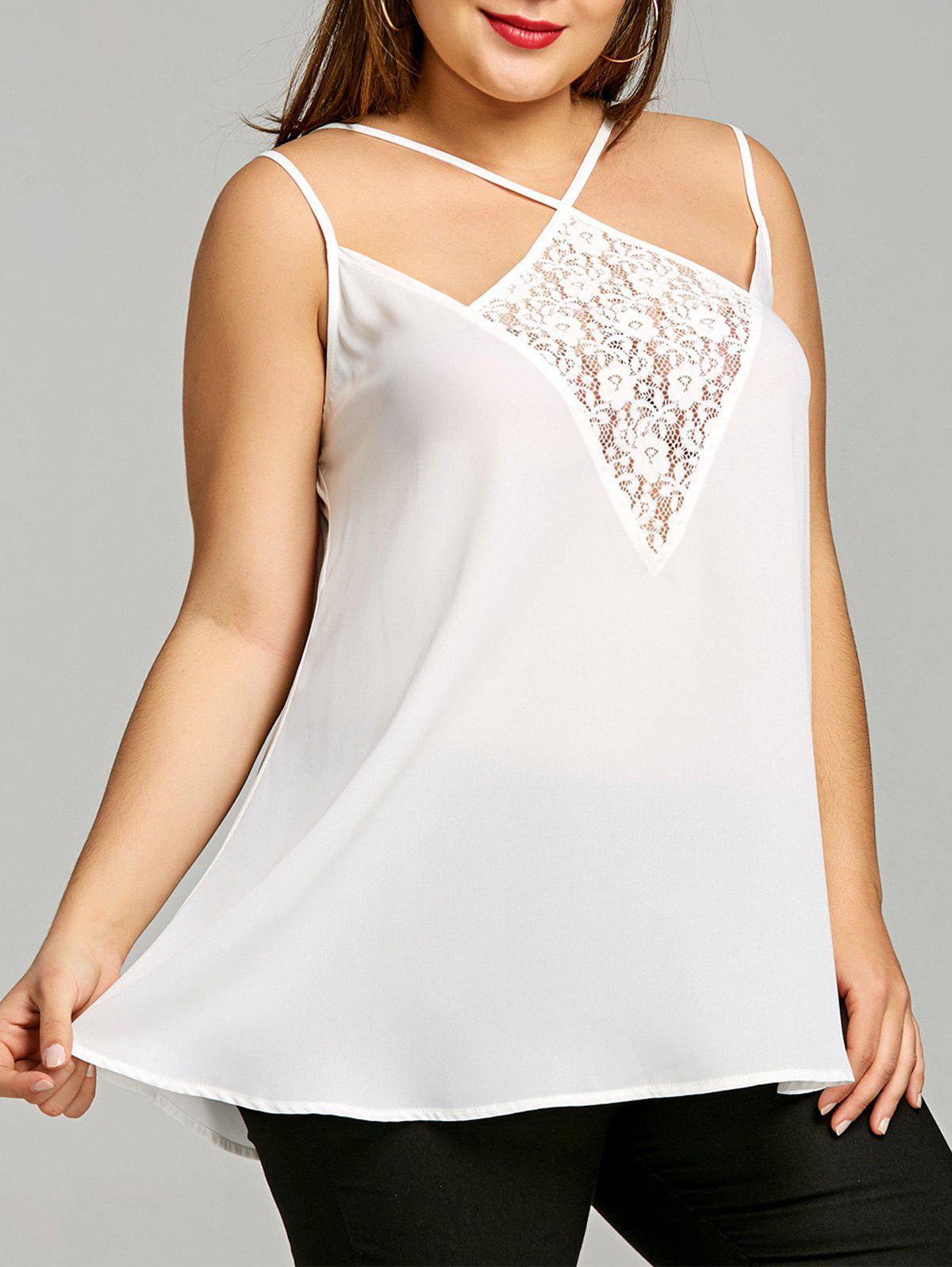 Plus Size Lace Insert Strappy Tank Top - OFF WHITE 2XL