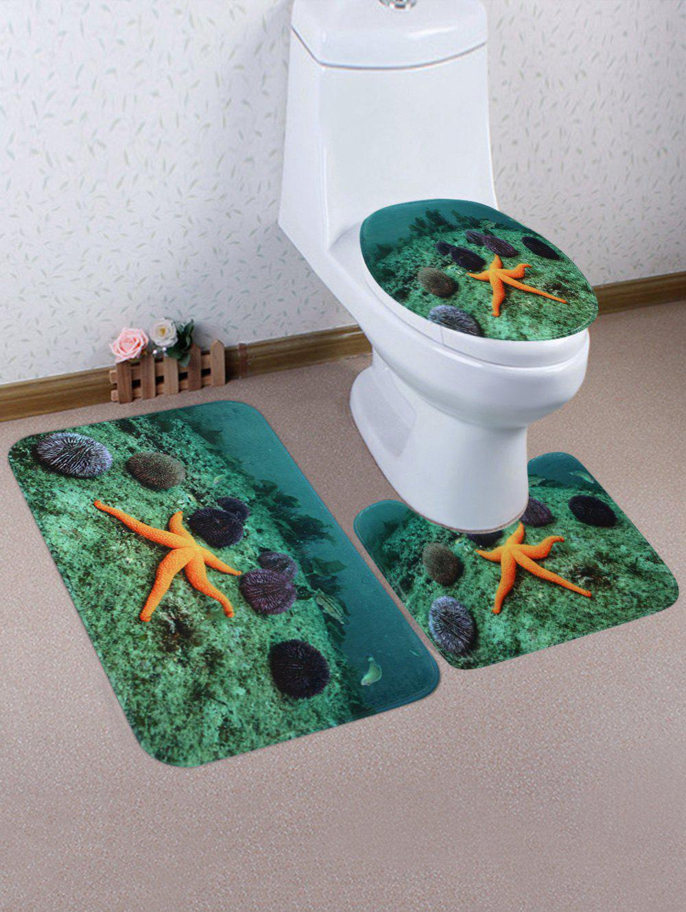 Sea Urchin Starfish Pattern 3 Pcs Antislip Toilet Mat Set - SEA GREEN