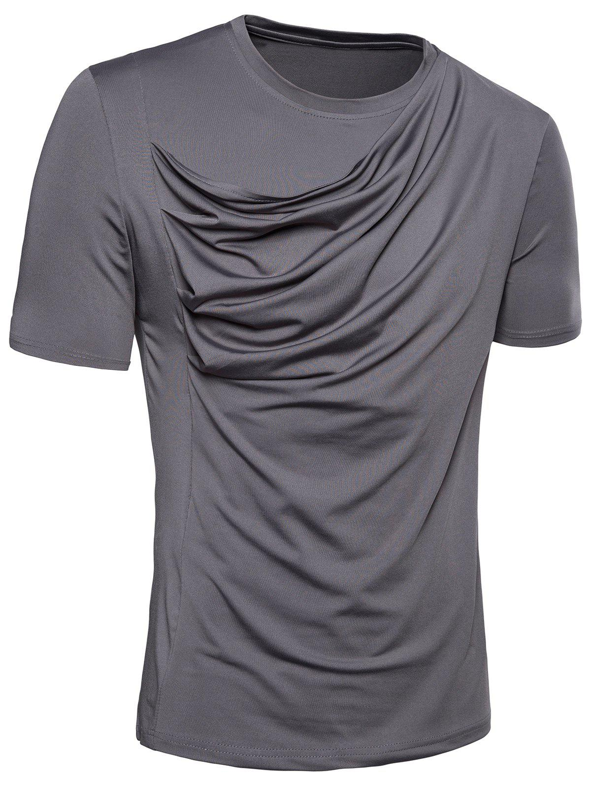 T-Shirt en Stretch Design Plissé - Gris M