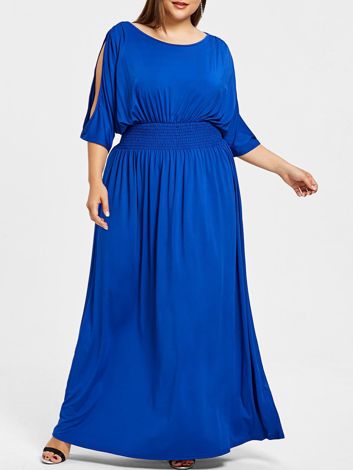 Slit Sleeve Plus Size Elastic Waist Maxi Dress - BLUE 2X