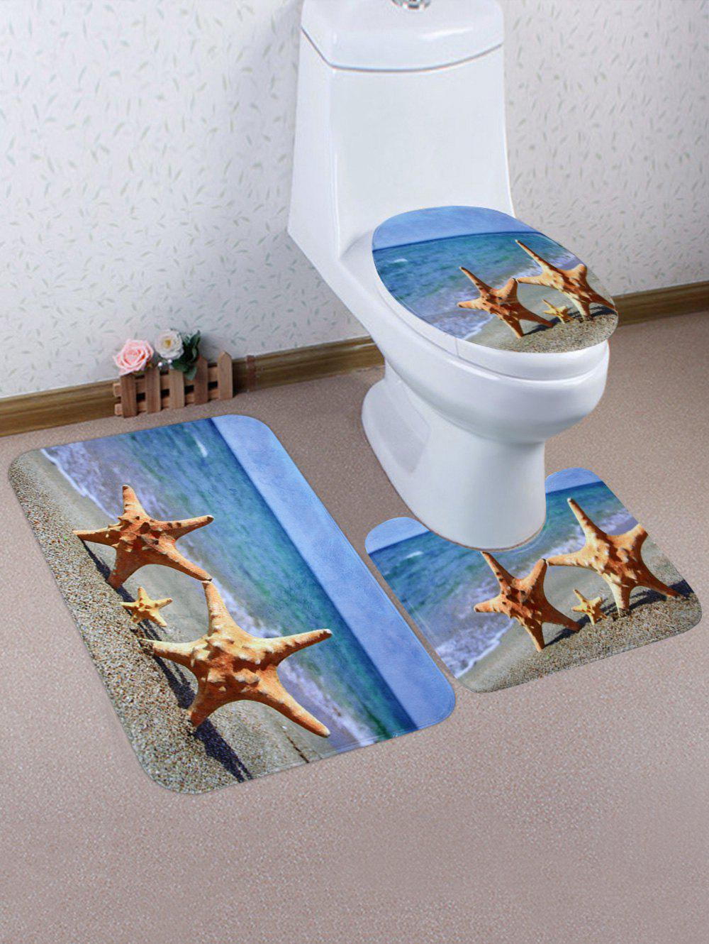 Sandbeach Starfish Pattern 3 Pcs Bath Mat Toilet Mat - multicolor