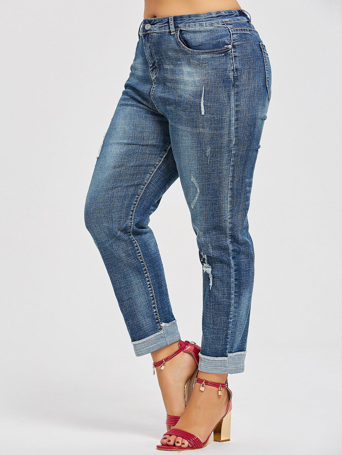 Distressed Back Pockets Plus Size Boyfriend Jeans - DENIM BLUE 3XL