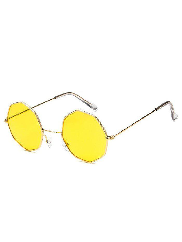 Geometric Metal Frame Sunglasses - YELLOW