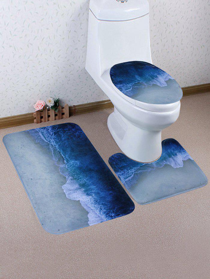 Wave Sandbeach Pattern 3 Pcs Bath Mat Toilet Mat wave sandbeach pattern 3 pcs bath mat toilet mat