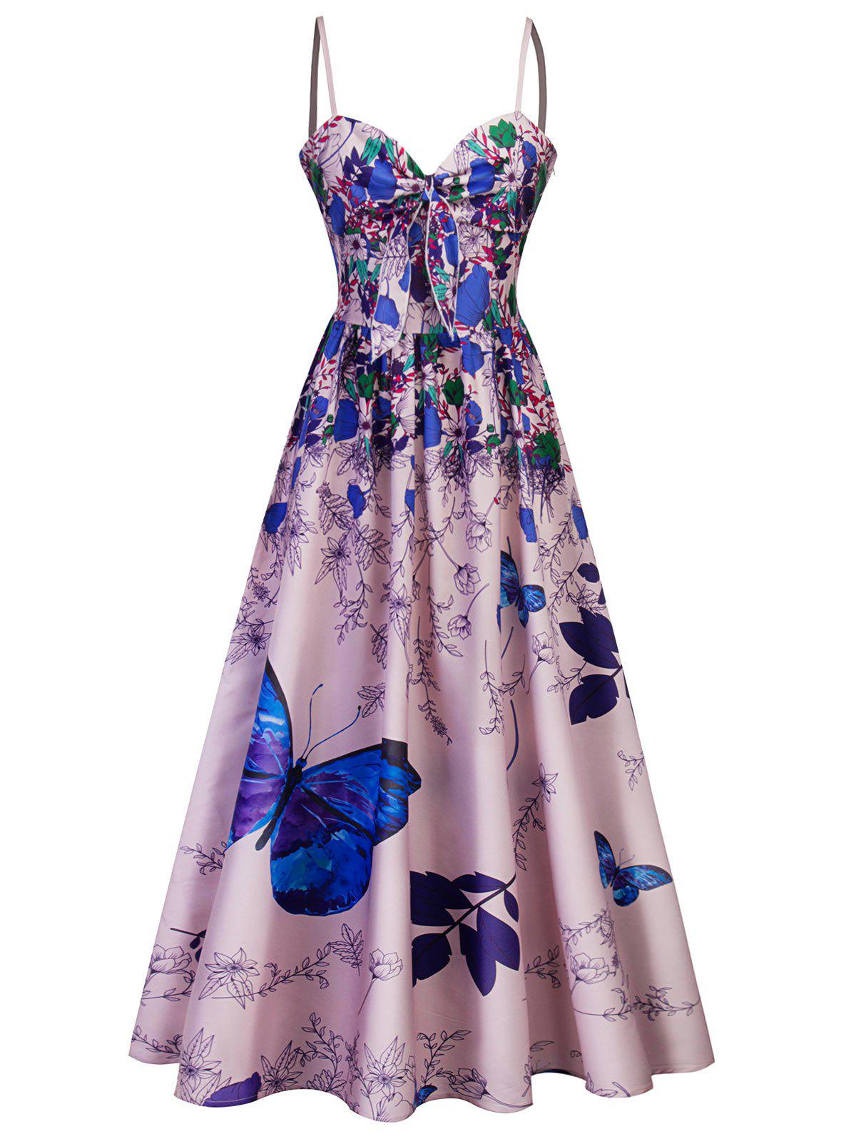 Spaghetti Strap Printed Long Party Dress - BLUE ORCHID M